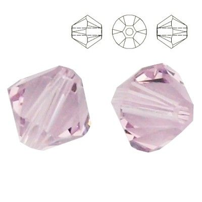 5328 Bicone 4mm Light Amethyst 10 pieces  Dimensions: 4,0mm Colour: Light Amethyst 1 package = 10 pieces