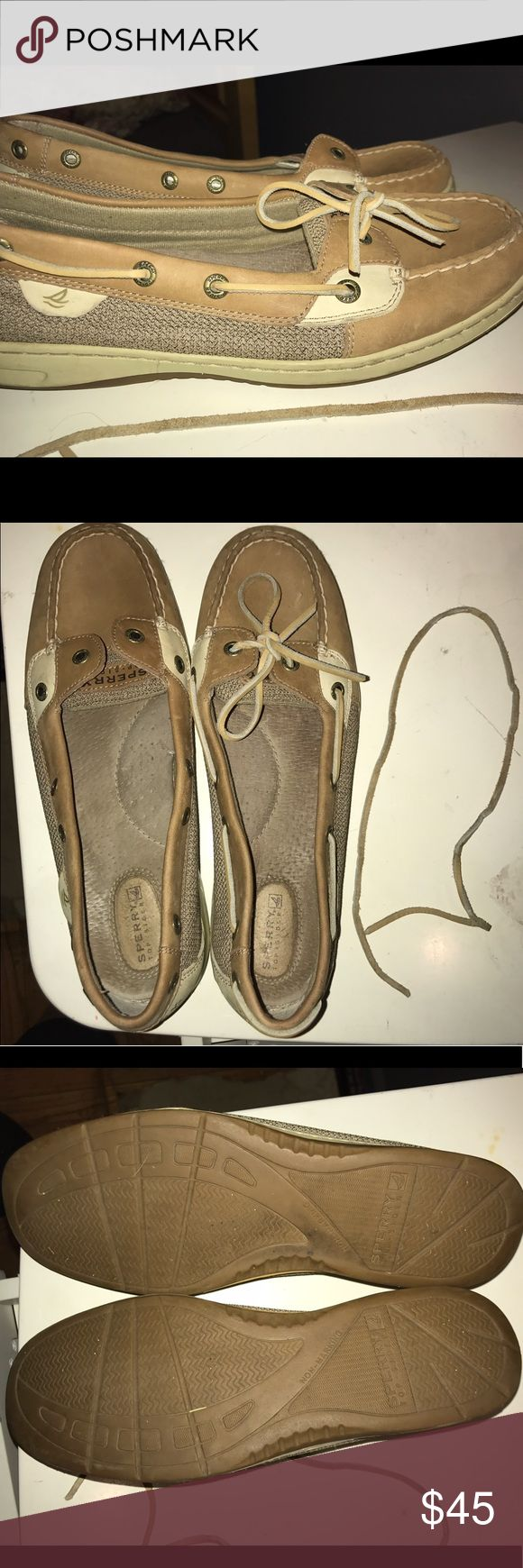 Sperry women angelfish boat shoe size 10 Says they're 10W, but they're not really wide. Lace is out of the left shoe but can be put back in. Lightly worn. No scent whatsoever. Very good condition Sperry Top-Sider Shoes Flats & Loafers