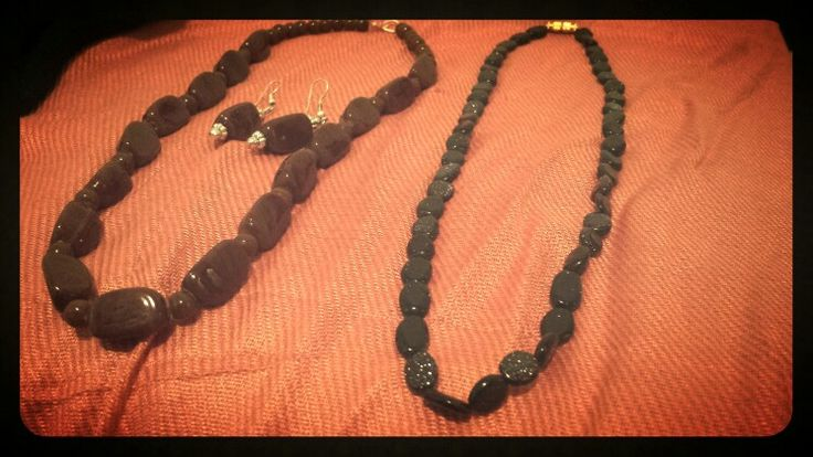 Necklaces made from brown and black stones