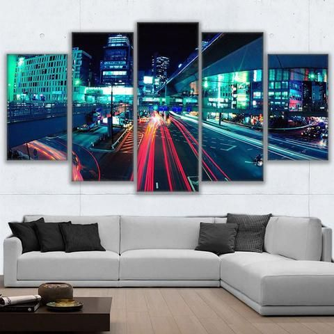 5 Pieces Tokyo Roadway Poster City Lights Night Wall Art