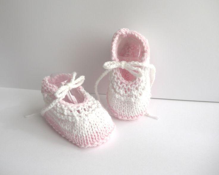 ballerines bébé chaussons naissance 0/3 mois Rose clair Blanc mélangé lacets : Mode Bébé par sweet-creas