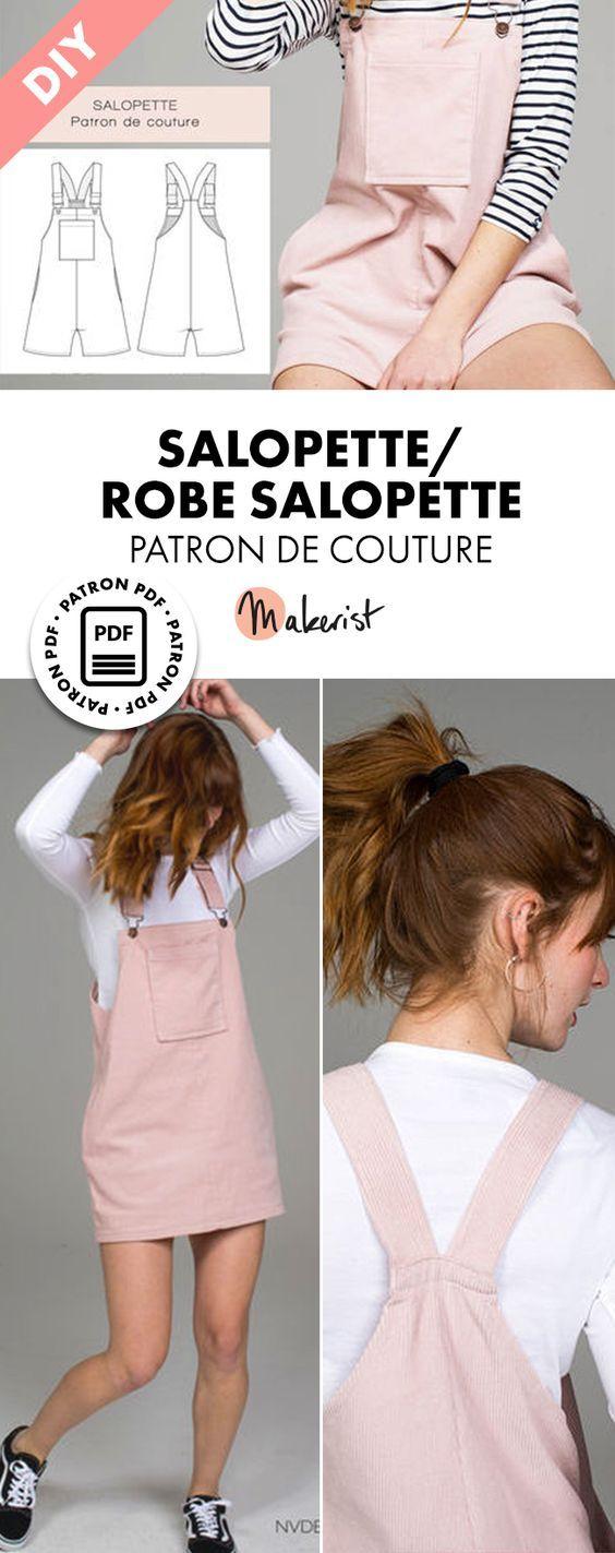 Patron de couture femme et fille – SALOPETTE / ROBE SALOPETTE- T36-42
