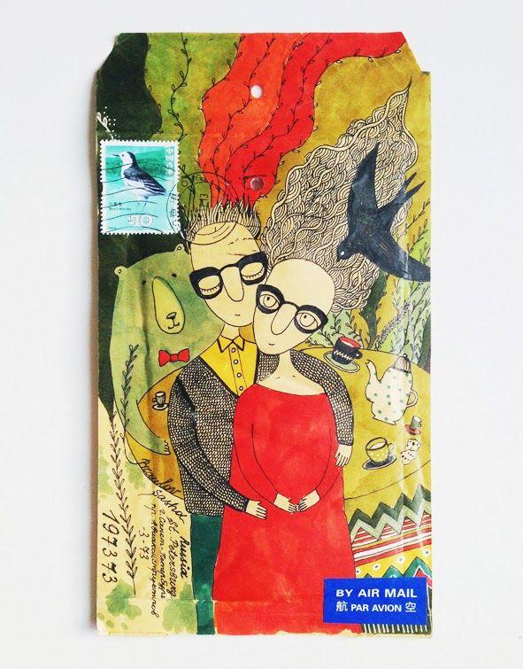 FISH MAIL ART: мэйл-арт конверты, объекты и открытки наси коптевой и саши браулова: you and me