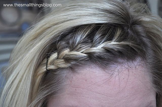 "french braid your bangs and other hair tutorials.  I've mastered the french twist, still unsure if I'm ready to tackle the french braid.  This blog gives me courage to try again--even though I may possibly be ""french-braid challenged."" #hair #braid #tutorial"