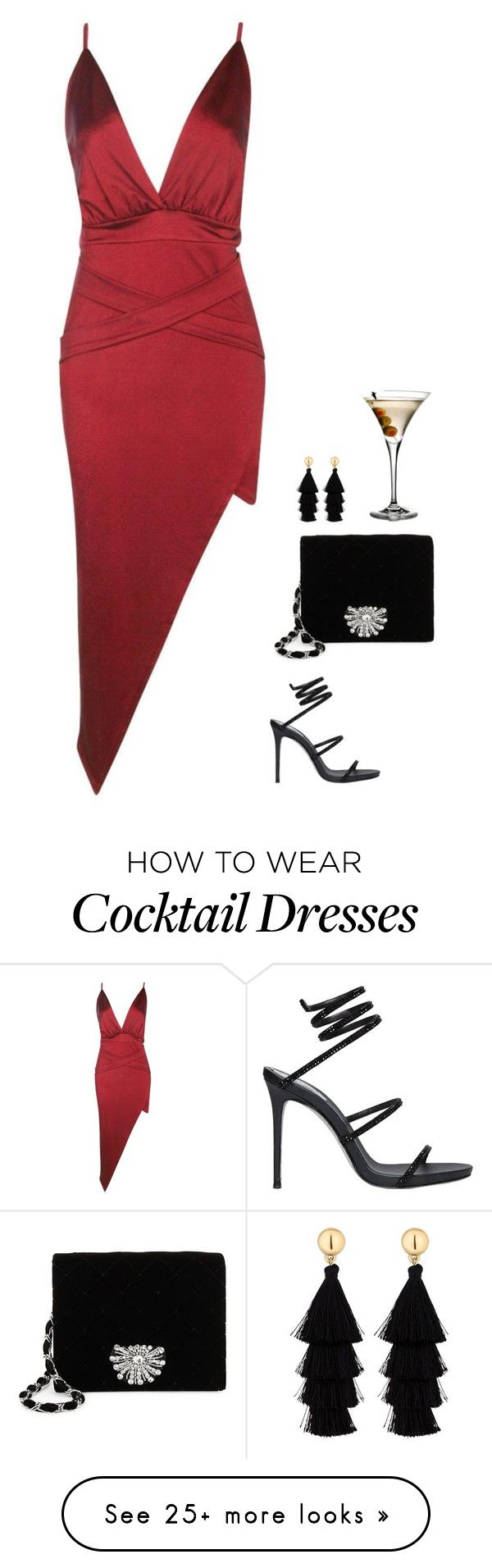 """#6681"" by azaliyan on Polyvore featuring Boohoo, René Caovilla, Badgley Mischka and Red Herring"