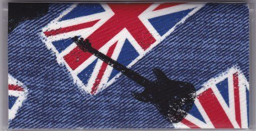 """Great Britain Rock Guitar Music Checkbook Cover by Tickled Pink Boutique. $5.00. The sturdy clear VINYL COVER encases a fabric bonded design. Measuring 6 1/4"""" x 3 1/4"""",  the cover fits all standard bank checkbooks and banking registers.  All checkbook covers come with a register flap and a duplicate check flap  just like the bank, only flashier.  These checkbook covers are a great alternative to the expensive covers offered by banks and online check companies."""