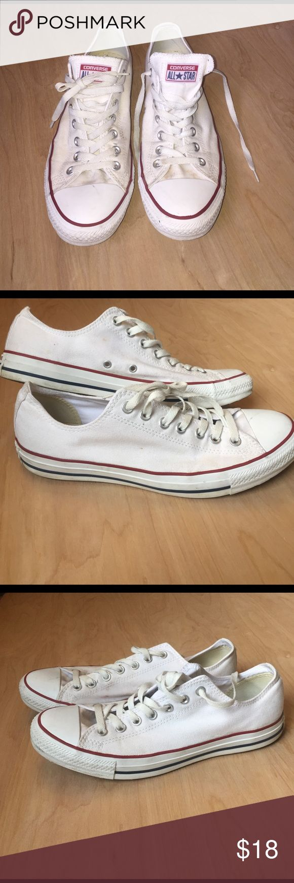 Classic Converse Chuck Taylor All Star Low Top Classic white converse sneakers! Men's size 10 or ladies size 12. These were purchased for a wedding and only worn that one day. They are in great condition besides a few small marks on the white, they aren't even broken in. Converse Shoes Sneakers