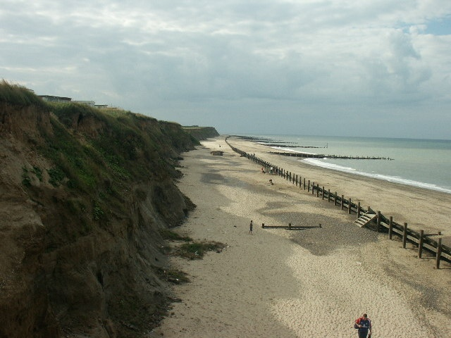 The beach at Happisburgh (pronounced Haze-Bruh).