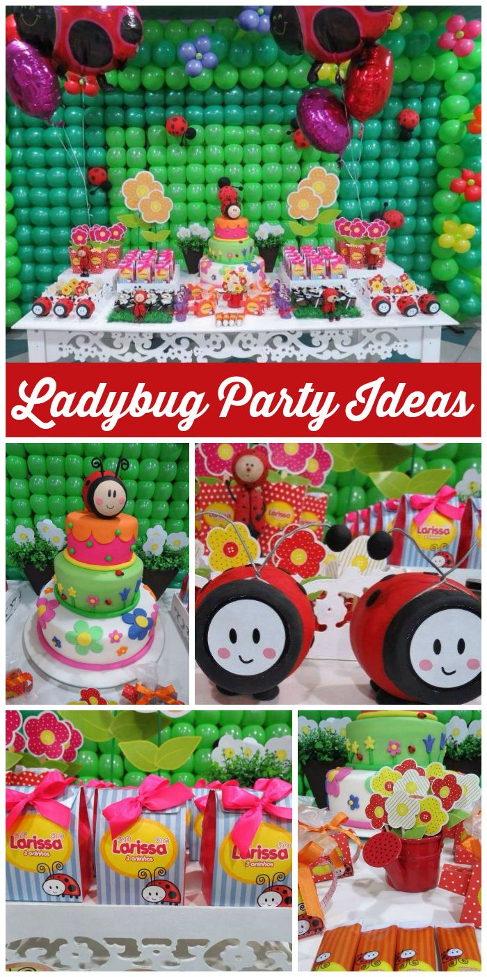 A Ladybug Garden girl birthday party with colorful decorations and an adorable cake!  See more party planning ideas at CatchMyParty.com!