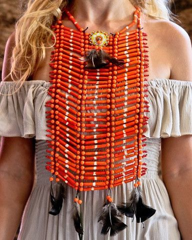 Native American Breastplate - Medium Orange - $45