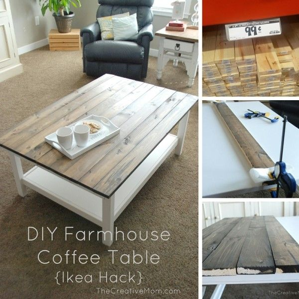 diy farmhouse coffee table ikea hack