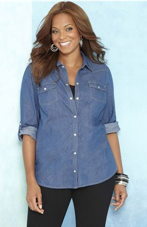 Best 25 chambray shirt outfits ideas on pinterest for Plus size chambray shirt