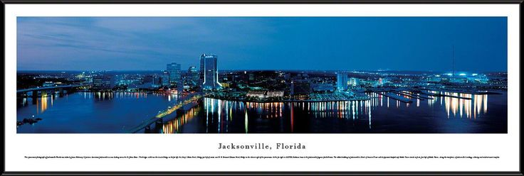 Jacksonville Skyline Panoramic Picture Framed, Florida