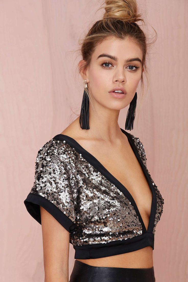 Nasty Gal Collection Flashback Sequin Crop Top | Shop Clothes at Nasty Gal
