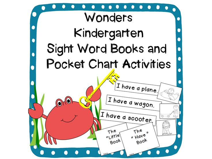 Wonders Kindergarten curriculum! (McGraw-Hill) Sight Word Readers and Pocket Chart Activities for all 40 sight words! Sight word books are quick and easy to make with just two folds! Pocket chart activities make instant literacy stations for the whole year! Also includes a set of flashcards that can be used for additional games! $