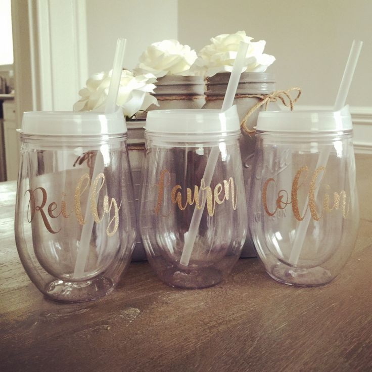 Personalized Wine Tumbler with glitter, Stemless Acrylic Wine Tumbler, Bridesmaid Gift, Bev2go, Custom Monogrammed Tumbler, Bachelorette Par by SouthernChicDesigns1 on Etsy