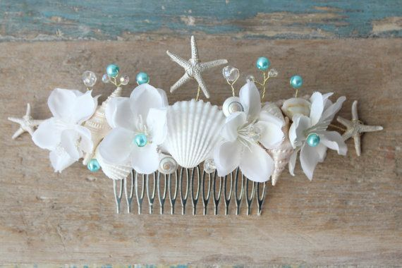 Something Blue Beach Wedding Comb Seashell Starfish by deLoop