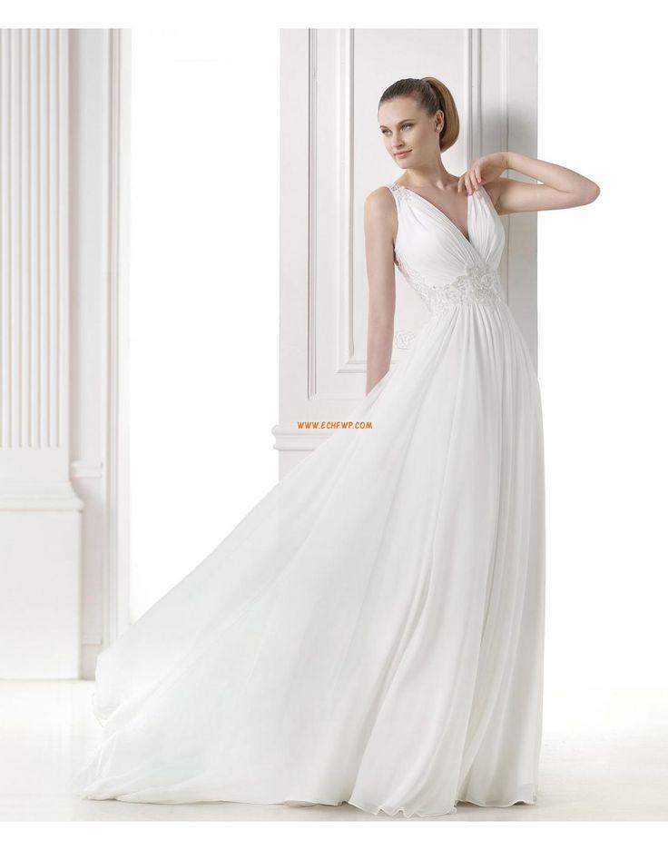 A-vonalú V-nyakú Hát nélküli Menyasszonyi ruhák 2015