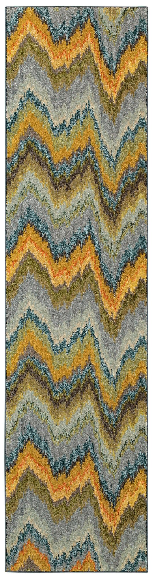 Aura Chevron Waves Yellow/Blue Area Rug