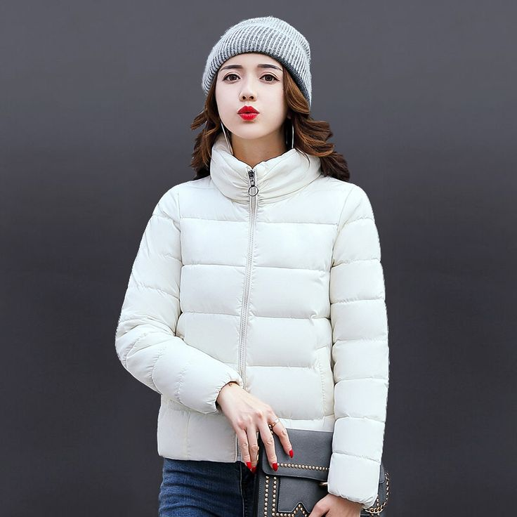 Parkas Women Slim Female Solid Color Warm Jacket Short Design Hooded Coat Femme Jacket Winter Outerwear Casual Parkas MZ1770 #Affiliate
