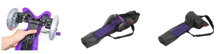 The ScooterSlingz bag is easy to use - simply remove the handle bar section, put the scooter base into the bag and slot the handle bar section in behind.  Fold over the lid section and fasten the clip to create a compact, easy to carry unit.