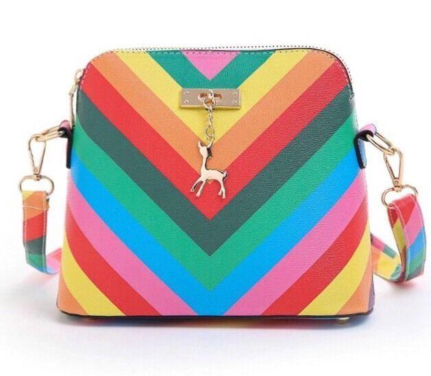 NEW Purse Handbags. (Rainbow colour.color stripes. W.Giselle or dear..Triangle ) | eBay