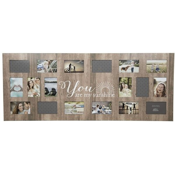 18-Opening My Sunshine Distressed Collage Frame ($50) ❤ liked on Polyvore featuring home, home decor, frames, brown picture frames, quote frames, 4x6 frames, 4x6 picture frames and brown frames