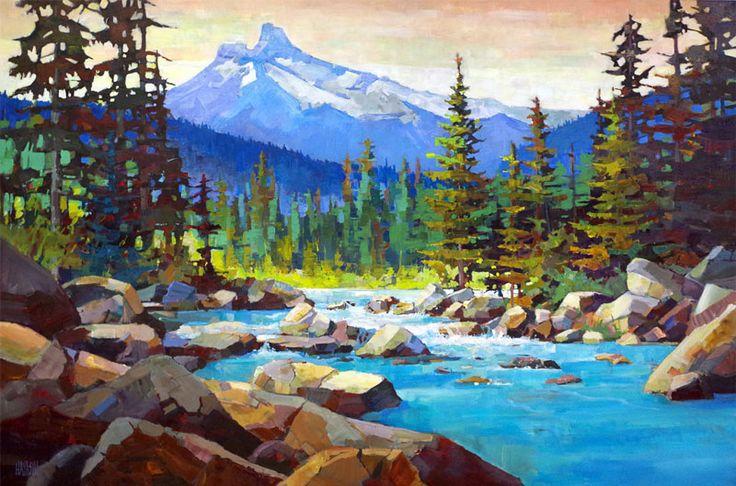 "'River Rocks' 40"" x 60"" Acrylic on Canvas Artist Randy Hayashi"