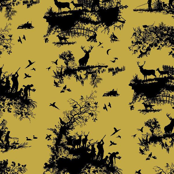 Timorous Beasties Hunting Toile Wallpaper - Black On Gold ($115) ❤ liked on Polyvore featuring home, home decor, wallpaper, gold, bird wallpaper, gold home decor, black bird wallpaper, bird toile wallpaper and timorous beasties wallpaper