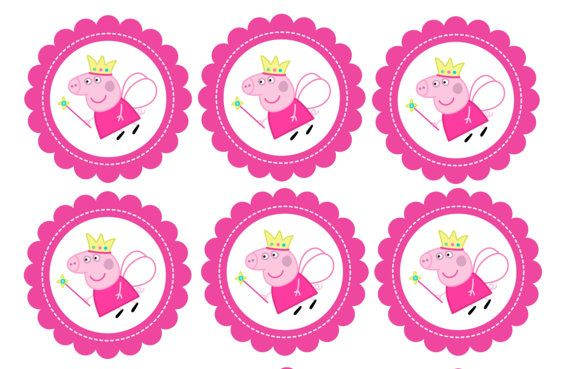 Peppa Pig Cupcake Toppers Peppa Pig Favor Tags by PartyOnInvites