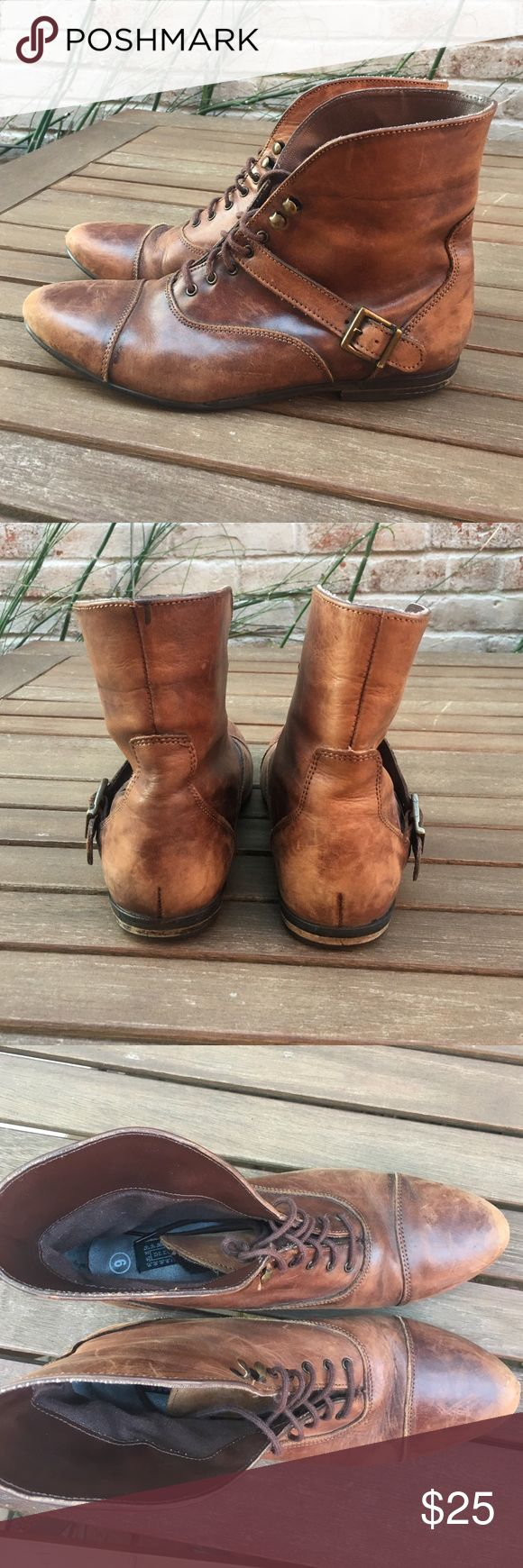 Brown leather boots Size 9 deena and Ozzie brown leather short booties Deena & Ozzy Shoes Combat & Moto Boots