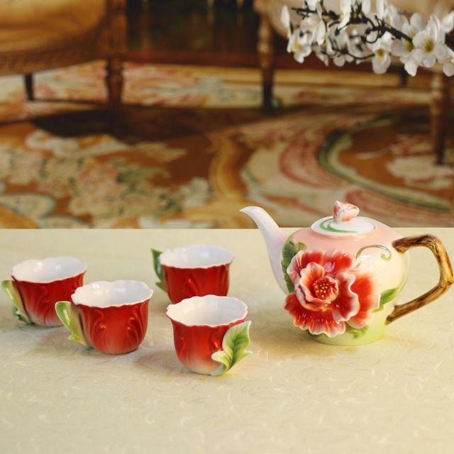 1POT + 6 ЧАШКИ 3D Penoy Эмаль Фарфора Чай Кофе Набор Горшок Чашка Китайский Кунг-Фу Керамический Чайник Кружка Европейский высококачественный Друг Подарок