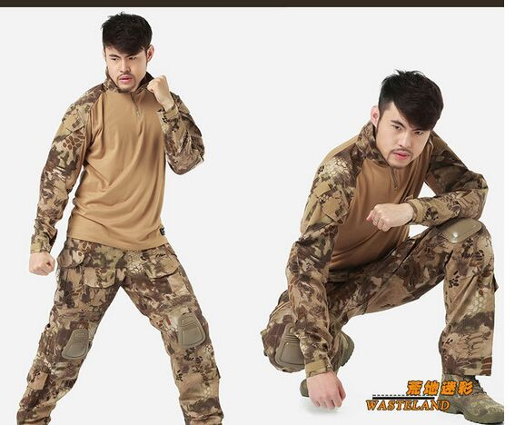 us army military uniform for men with pads Outdoor wear clothesrattle snake shooter US combat uniform shirt and pants M-XXL #Affiliate