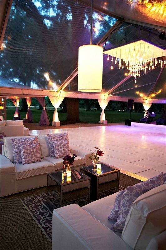 Charleston Wedding at Private Plantation - couches next to the dance floor!  Love the dance floor and chandelier