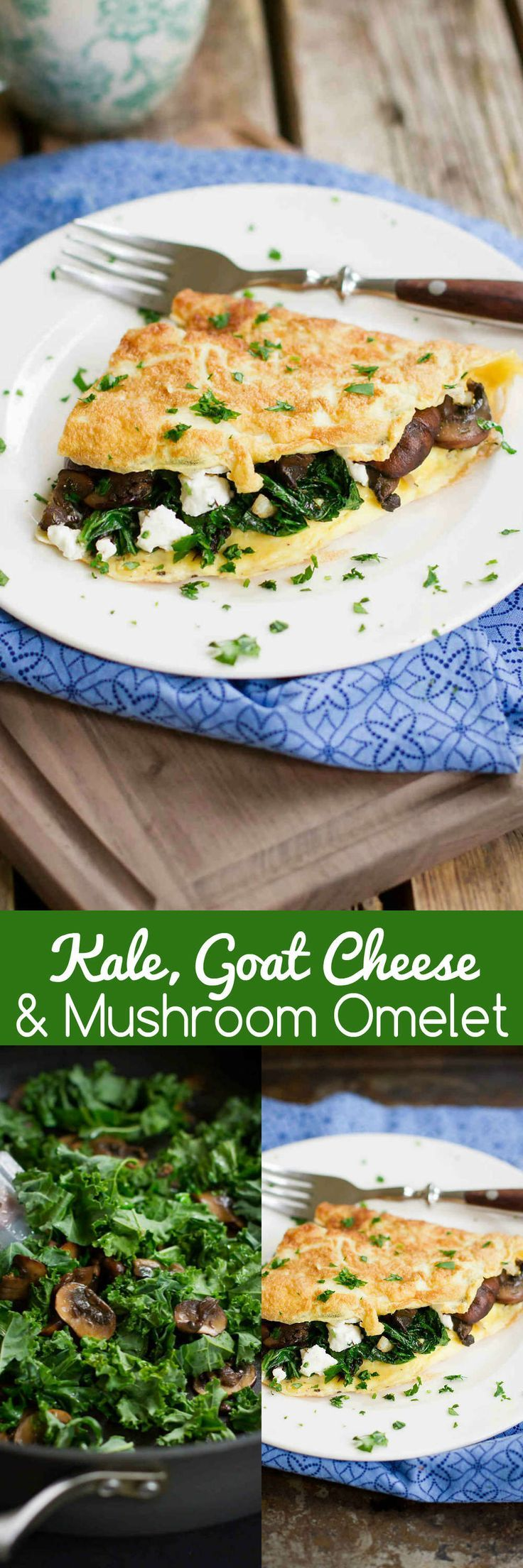 Kale, Goat Cheese and Mushroom Omelet…The flavors in this breakfast recipe will make you crave it over and over again! Plus, it's full of nutrients. 219 calories and 5 Weight Watchers SmartPoints #VegItUp