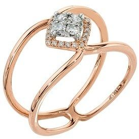 Ax Jewelry Diamond Ring In 10k Rose And White Gold (0.20 Carats, H-i, I3).