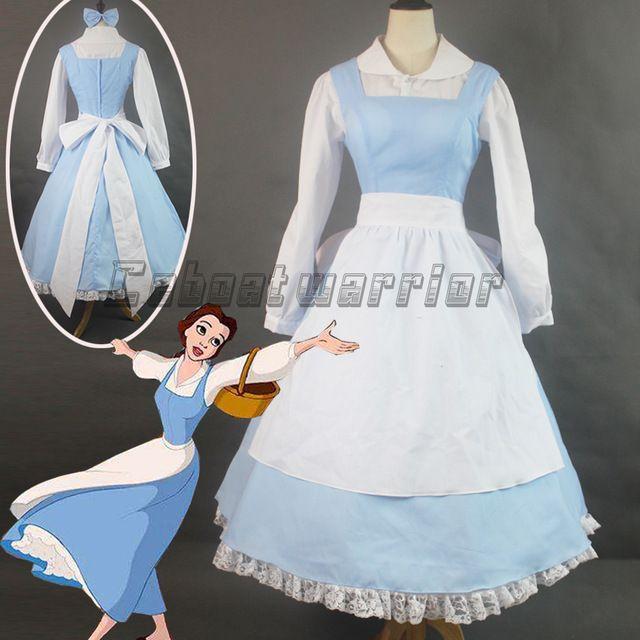 Filme personalizado beauty and the beast princesa belle azul da empregada doméstica avental adulto traje cosplay mulheres halloween dress