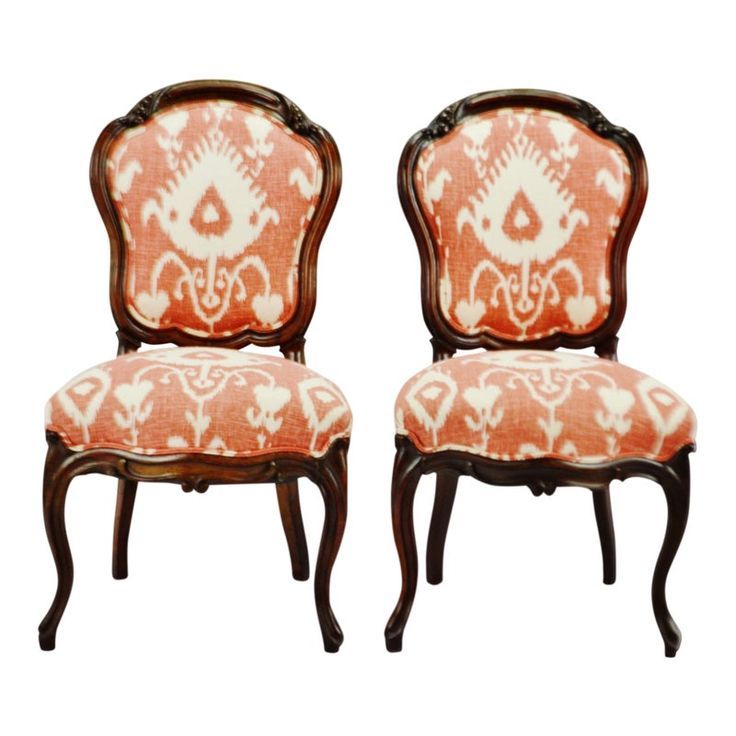 Vintage Victorian Style Upholstered Accent Chairs A Pair