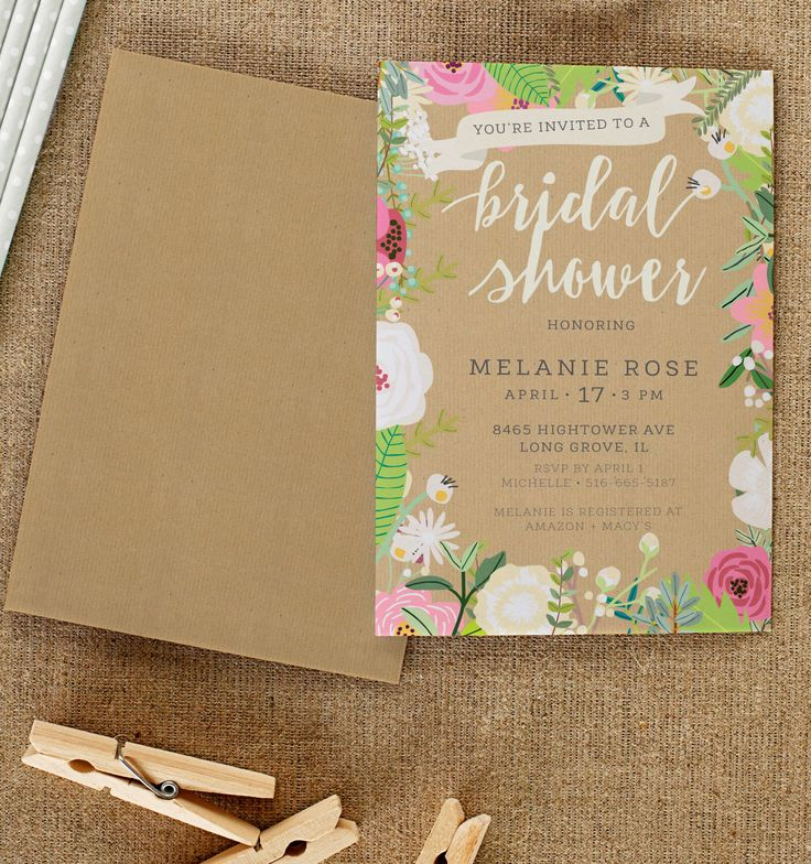 fairytale bridal shower invitation wording%0A Rustic Chic  Bright Spring Floral Bridal Shower Invitation