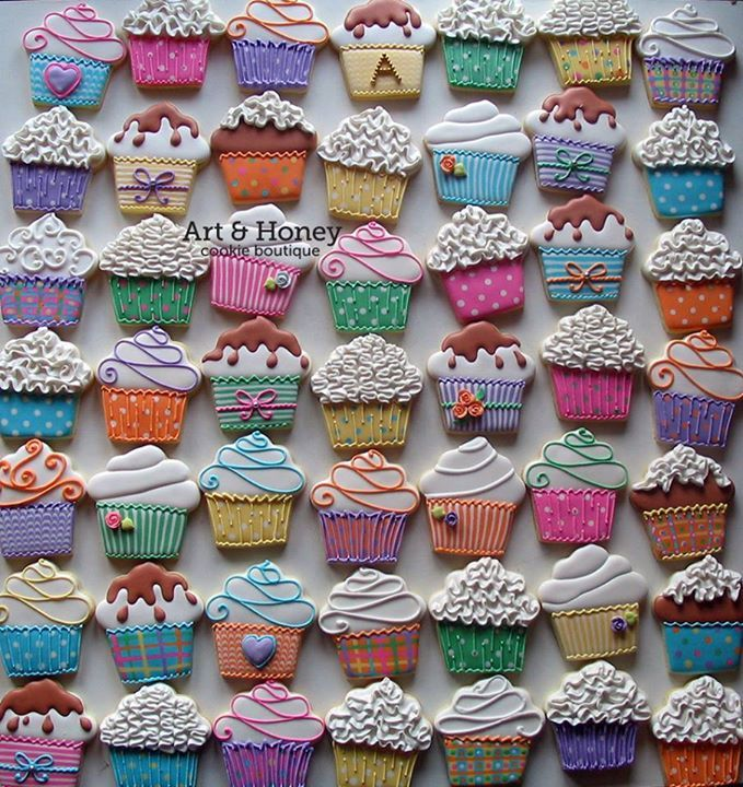 Colorful cupcake cookies. https://www.annclarkcookiecutters.com/product/cupcake-cookie-cutter-4-in