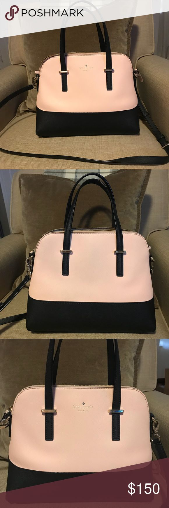 Kate Spade Cedar Street Maise Beautiful blush and black two-tone Kate Spade bag. I bought this a few years back at a Kate Spade store. This bag is in perfect condition except for where the black on the zipper has rubbed off on one side, but it isn't noticeable (see picture). Interior of the bag has one tiny black spot (pictured) probably from dust. kate spade Bags