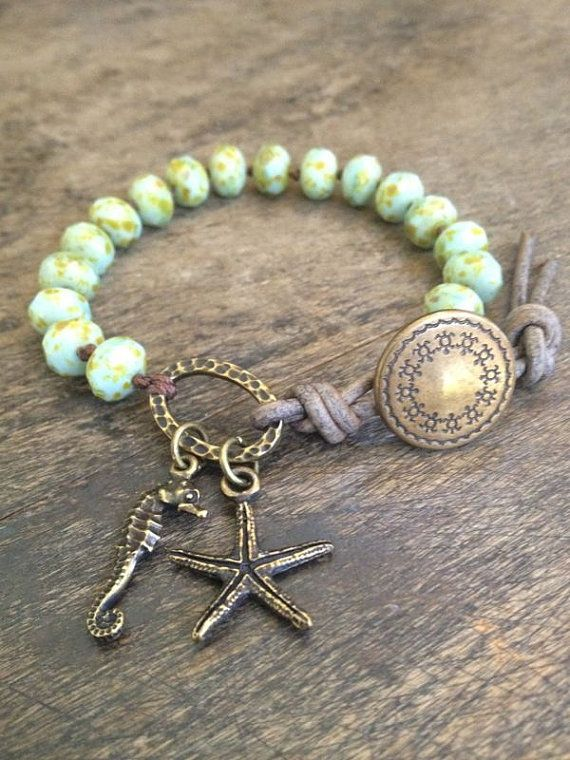"Sea Horse & Starfish Hand Knotted Bracelet, ""Beach Boho"""