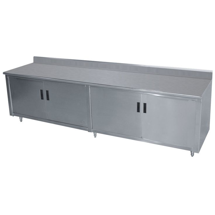 """Advance Tabco HK-SS-3610 36"""" x 120"""" 14 Gauge Enclosed Base Stainless Steel Work Table with Hinged Doors and 5"""" Backsplash"""