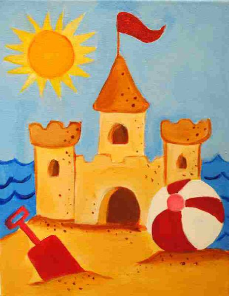 summer sand castle i want to draw this - Painting Images For Kids