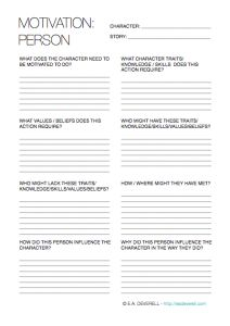 Writing Worksheet – Character Motivation (PDF) I was motivated to create these worksheets on character motivation by a character. I did my best to simplify the subject but despite much deliberation I still don't think my worksheets are exhaustive. They're a good place to start, though. They should help you when you need your character to do something, but…