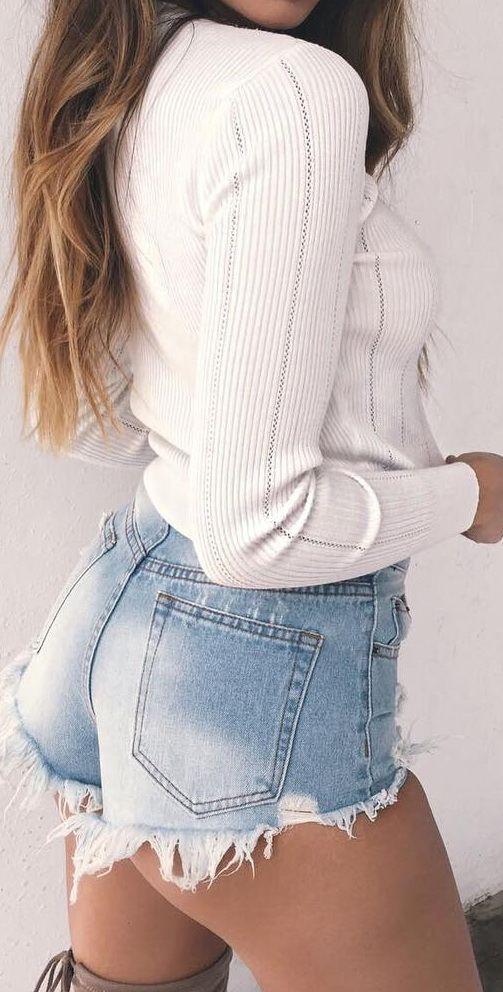 Casual + cute / 'Holding Back' knit & 'New York' denim shorts  @TigerMistLoves
