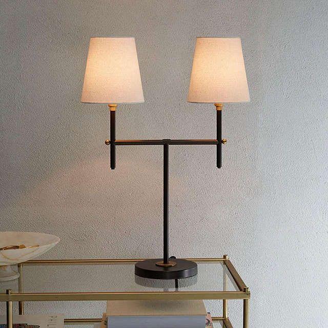 Buywest elm Arc 2 Arm Table Lamp, Bronze Online at johnlewis.com