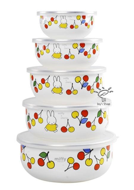 Dick Bruna Miffy Enamel Wares Salad Bowl Snack Fruit Food Container 5pc Set | eBay