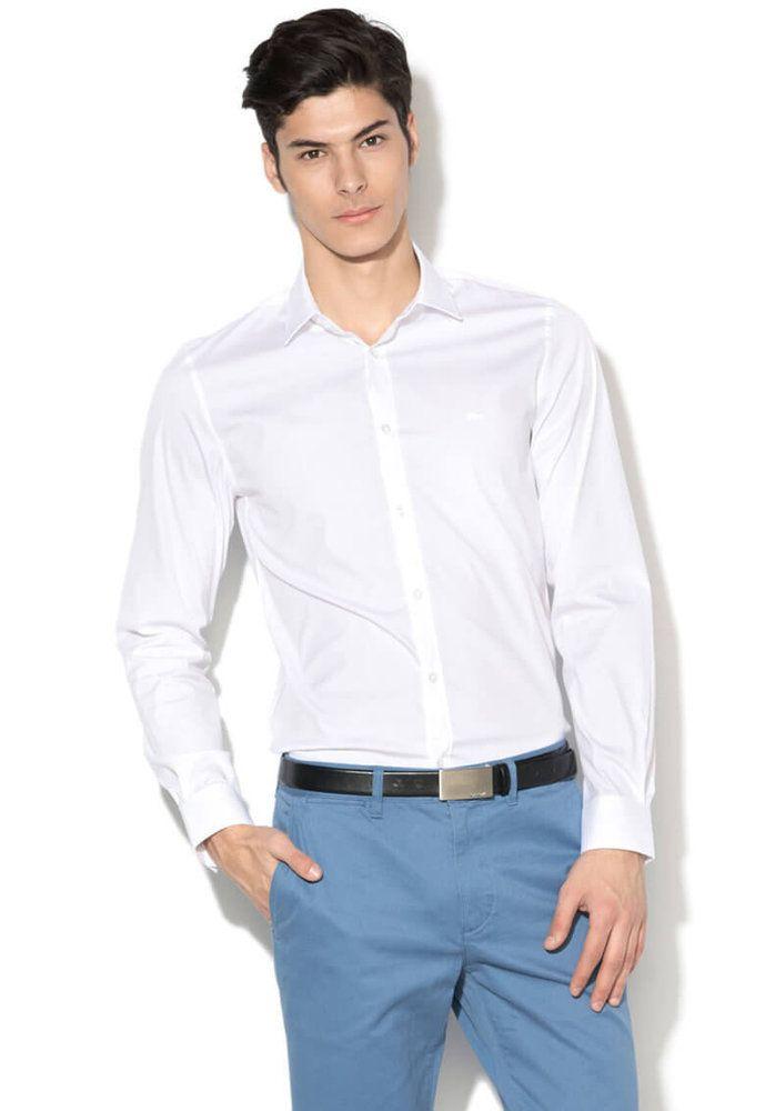 6f332a7c99d Мъжка бяла вталена #Риза - Lacoste | Мъжки Ризи | Mens tops, Tops ...