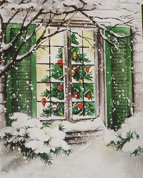 Vintage Hallmark Christmas Card-Snowy Outside Window View of Tree Inside House